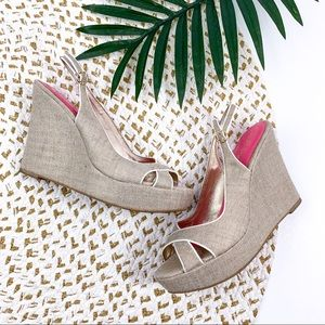 Lilly Pulitzer Gold Canvas Wedges